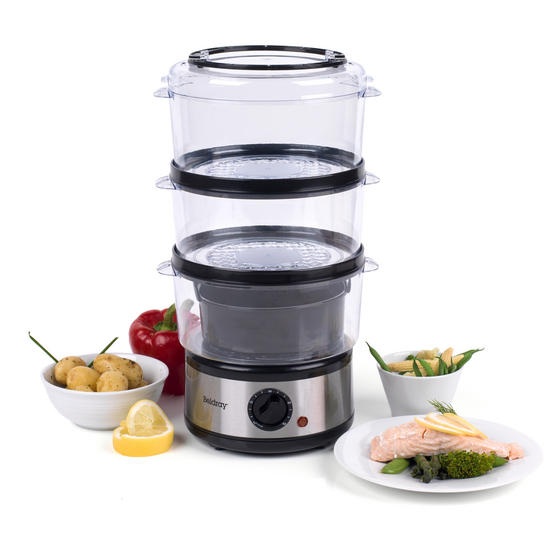 Beldray EK2726BGP Healthy Cooking 3-Tier Food Rice Meat Vegetable Steamer, 7.5 Litre