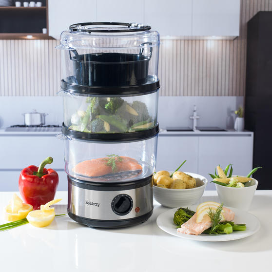 Beldray Healthy Cooking 3-Tier Food Rice Meat Vegetable Steamer, 7.5 Litre Thumbnail 3