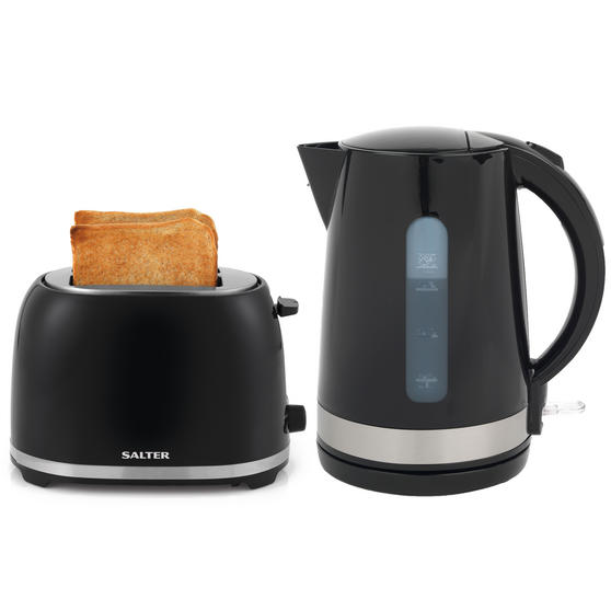Salter Deco Collection 1.7L Kettle and 2 Slice Cool Touch Toaster Set, Black / Stainless Steel