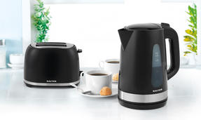 Salter Deco Collection 1.7L Kettle and 2 Slice Cool Touch Toaster Set, Black / Stainless Steel Thumbnail 2
