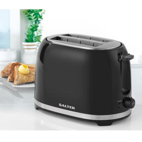 Salter Deco Collection 1.7L Kettle and 2 Slice Cool Touch Toaster Set, Black / Stainless Steel Thumbnail 4