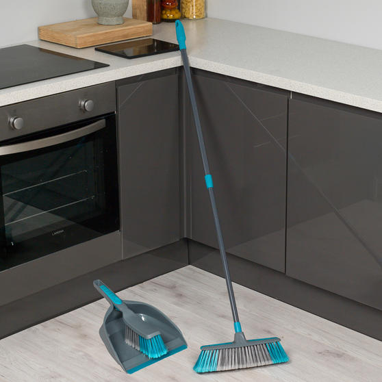Beldray Telescopic Floor Broom with Dustpan and Brush Set, Blue / Grey Thumbnail 2