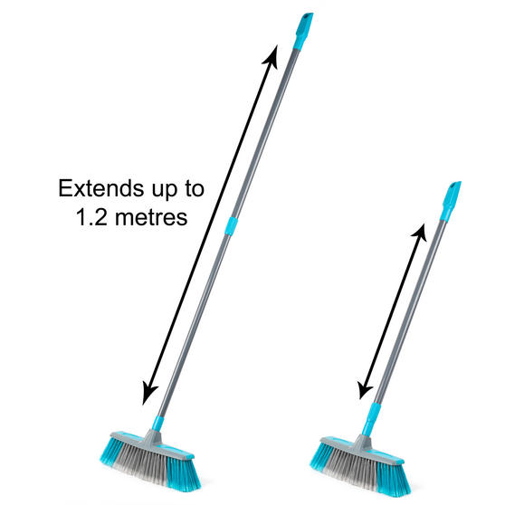 Beldray Telescopic Floor Broom with Dustpan and Brush Set, Blue / Grey Thumbnail 7