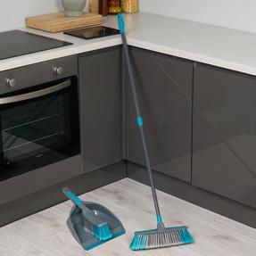 Beldray Telescopic Floor Broom with Dustpan and Brush Set, Blue / Grey Thumbnail 2