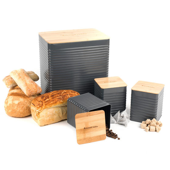 Russell Hobbs Embossed Square Kitchen Storage Set with Bread Bin, Grey / Bamboo