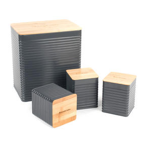 Russell Hobbs Embossed Square Kitchen Storage Set with Bread Bin, Grey / Bamboo Thumbnail 2