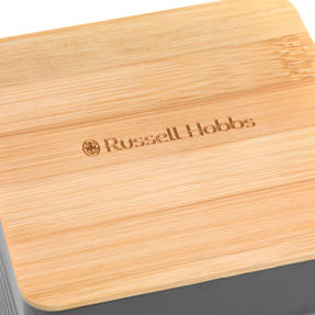Russell Hobbs Embossed Square Kitchen Storage Set with Bread Bin, Grey / Bamboo Thumbnail 3