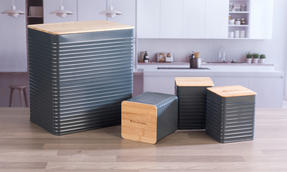 Russell Hobbs Embossed Square Kitchen Storage Set with Bread Bin, Grey / Bamboo Thumbnail 6