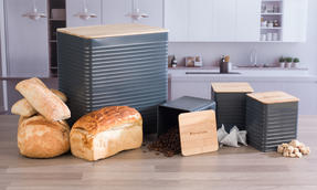 Russell Hobbs Embossed Square Kitchen Storage Set with Bread Bin, Grey / Bamboo Thumbnail 7