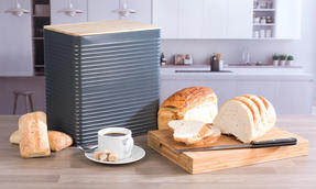 Russell Hobbs Embossed Square Kitchen Storage Set with Bread Bin, Grey / Bamboo Thumbnail 8