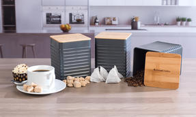Russell Hobbs Embossed Square Kitchen Storage Set with Bread Bin, Grey / Bamboo Thumbnail 9