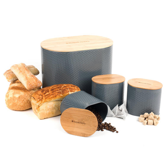 Russell Hobbs Embossed Oval Kitchen Storage Set with Bread Bin, Grey / Bamboo