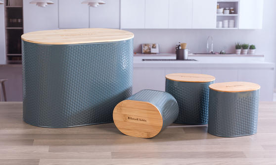 Russell Hobbs Embossed Oval Bread Bin With Bamboo Lid Grey