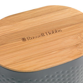 Russell Hobbs Embossed Oval Kitchen Storage Set with Bread Bin, Grey / Bamboo Thumbnail 3