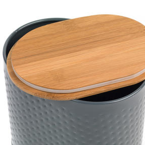 Russell Hobbs Embossed Oval Kitchen Storage Set with Bread Bin, Grey / Bamboo Thumbnail 4