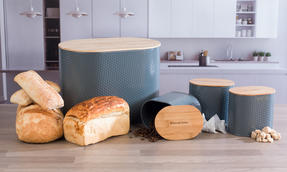 Russell Hobbs Embossed Oval Kitchen Storage Set with Bread Bin, Grey / Bamboo Thumbnail 6