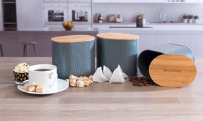 Russell Hobbs Embossed Oval Kitchen Storage Set with Bread Bin, Grey / Bamboo Thumbnail 9