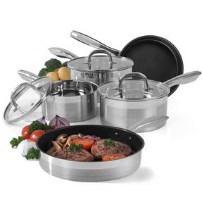 Salter Timeless Collection 5 Piece Saucepan and Non-Stick Frying Pan Set, Stainless Steel