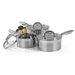 Salter Timeless Collection 5 Piece Saucepan and Non-Stick Frying Pan Set, Stainless Steel Thumbnail 2