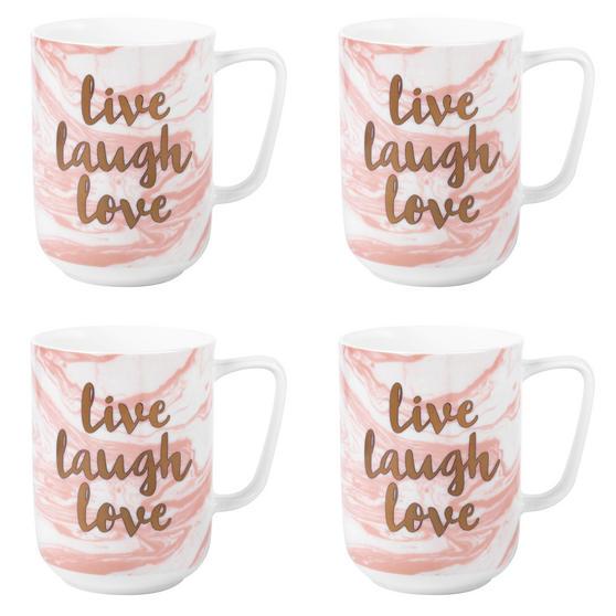 Portobello Devon Marble Live Laugh Love Bone China Mug, Set of 4, Pink and Gold