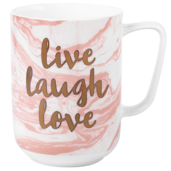 Portobello Devon Marble Live Laugh Love Bone China Mug, Set of 4, Pink and Gold