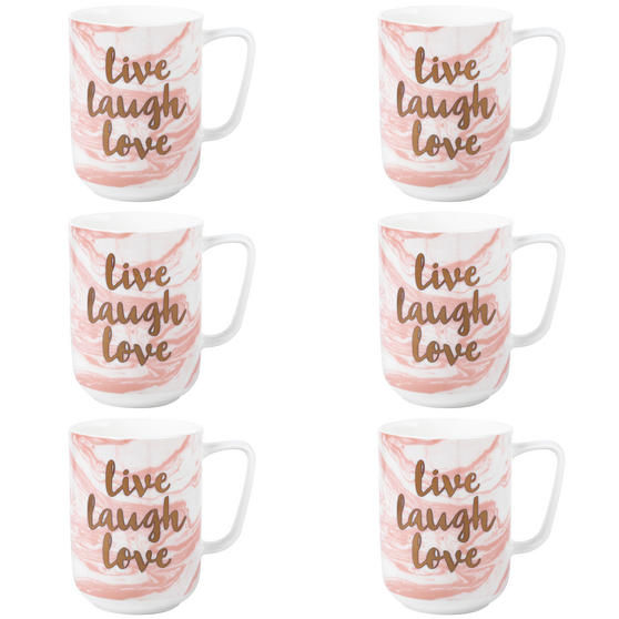Portobello COMBO-3000 Devon Marble Live Laugh Love Bone China Mug, Set of 6, Pink and Gold