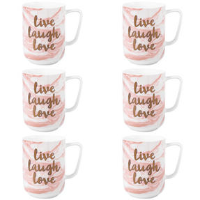 Portobello COMBO-3000 Devon Marble Live Laugh Love Bone China Mug, Set of 6, Pink and Gold Thumbnail 1
