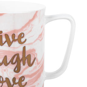 Portobello CM05348 Devon Marble Live Laugh Love Bone China Mug, Set of Six Thumbnail 3