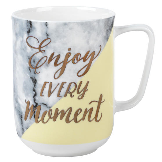 Portobello COMBO-3002 Devon Marble Enjoy Every Moment Bone China Mug, Set of 6, Yellow and Gold