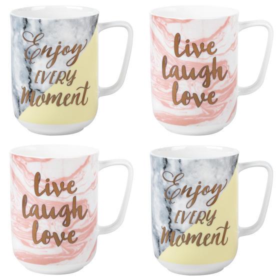 Portobello COMBO-3003 Devon Marble Live Laugh Love and Enjoy Every Moment Mug Set, 4 Piece