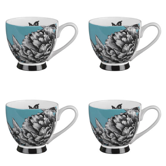 Portobello Sandringham Zen Garden Turquoise Bone China Mug, Set of 4