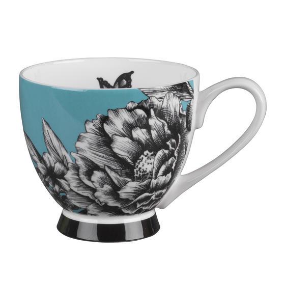 Portobello KB246752 Sandringham Zen Garden Turquoise Bone China Mug, Set of Four