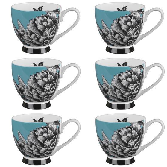 Portobello Sandringham Zen Garden Turquoise Bone China Mug, Set of 6