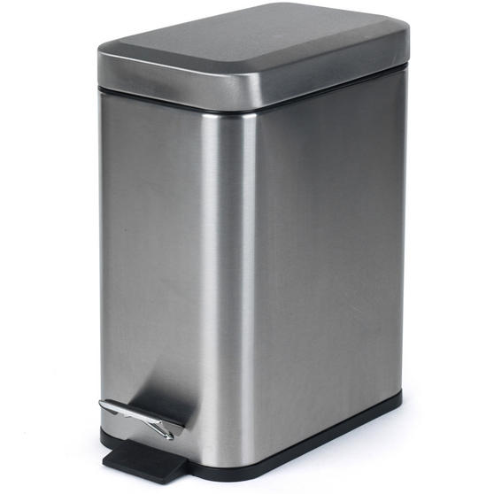 Salter BW06667 Rectangular Kitchen Bathroom Pedal Bin, 5 Litre, Stainless Steel