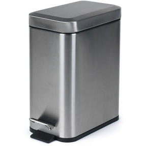 Salter BW06667 Rectangular Kitchen Bathroom Pedal Bin, 5 Litre, Stainless Steel Thumbnail 1