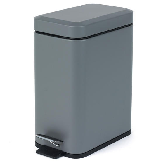 Salter Rectangular Kitchen Bathroom Pedal Bin, 5 Litre, Grey