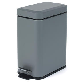 Salter Rectangular Kitchen Bathroom Pedal Bin, 5 Litre, Grey Thumbnail 1