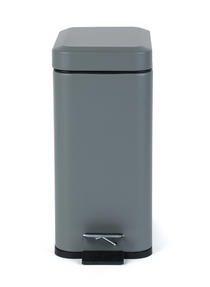 Salter Rectangular Kitchen Bathroom Pedal Bin, 5 Litre, Grey Thumbnail 2