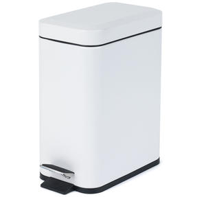 Salter Rectangular Kitchen Bathroom Pedal Bin, 5 Litre, White Thumbnail 1