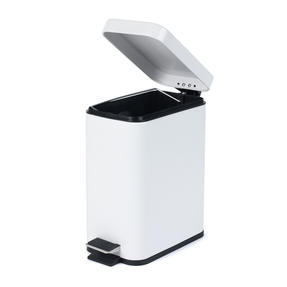 Salter BW06667W Rectangular Kitchen Bathroom Pedal Bin, 5 Litre, White Thumbnail 3