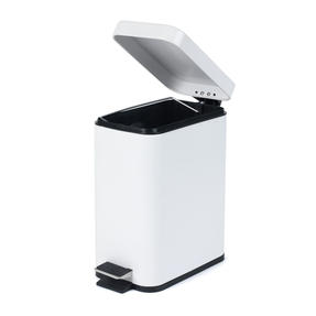 Salter Rectangular Kitchen Bathroom Pedal Bin, 5 Litre, White Thumbnail 3
