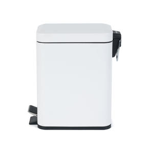 Salter Rectangular Kitchen Bathroom Pedal Bin, 5 Litre, White Thumbnail 4