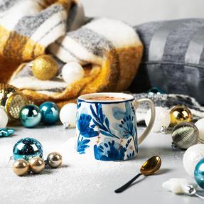 Portobello CM06053 Tank Dana Gold Stoneware Mug, Blue/Gold Thumbnail 5