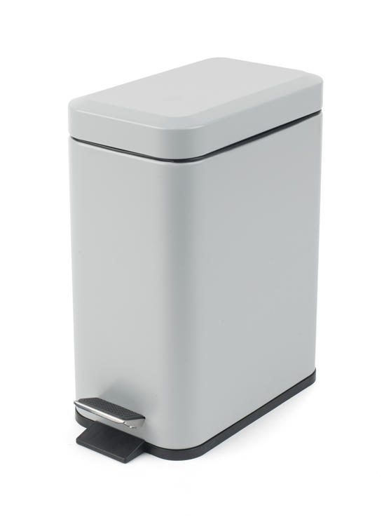 Beldray LA041173GRY Rectangular Waste Pedal Bin with Soft Closing Lid, 5 Litre, Grey