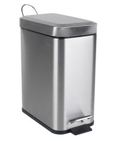 Beldray LA041173SS Rectangular Waste Pedal Bin with Soft Closing Lid, 5 Litre, Stainless Steel