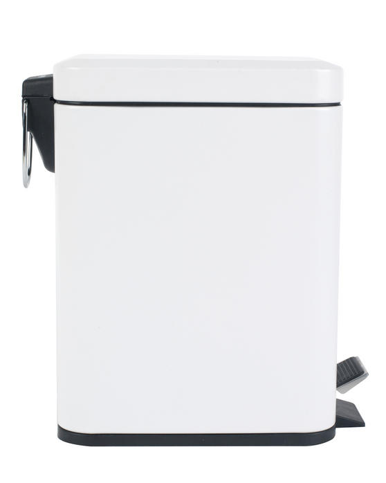 Beldray LA041173WHT Rectangular Waste Pedal Bin with Soft Closing Lid, 5 Litre, White