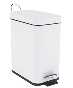 Beldray LA041173WHT Rectangular Waste Pedal Bin with Soft Closing Lid, 5 Litre, White Thumbnail 3