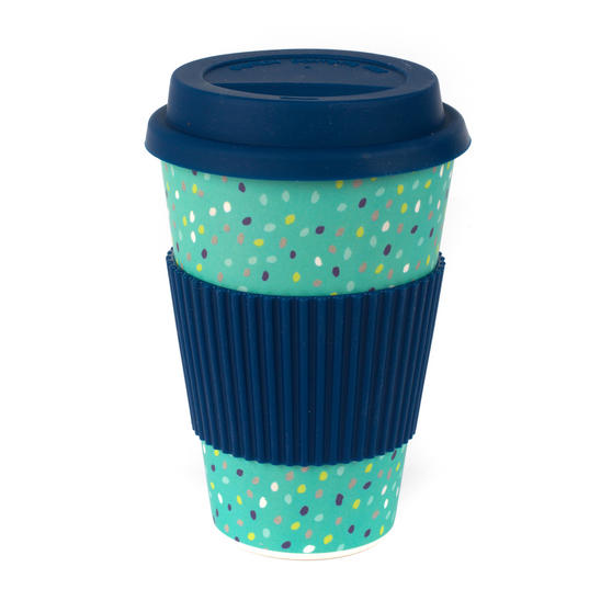 Cambridge CM06191 Speckle Travel Mug, Bamboo, Navy, 9 x 9 x 13 cm