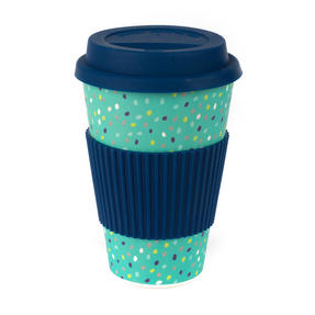 Cambridge CM06191 Speckle Travel Mug, Bamboo, Navy, 9 x 9 x 13 cm Thumbnail 1