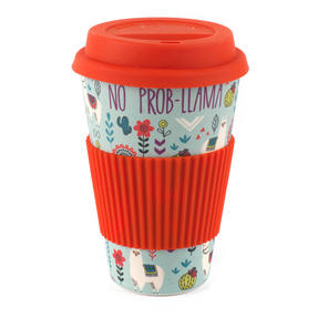Cambridge CM06106 Llamas Folk Eco Travel Mug, Bamboo, Red, 9 x 9 x 13 cm Thumbnail 1